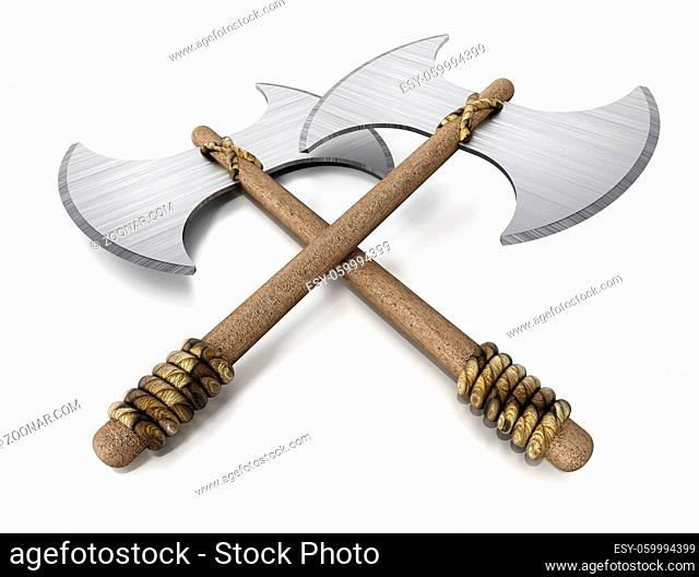 Two vintage axes isolated on white background. 3D illustration