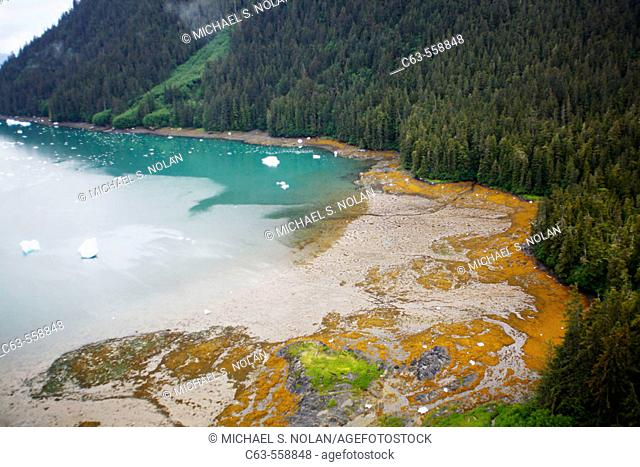 Aerial view of the outwash plain around the Le Conte Glacier in Le Conte Bay, Southeast Alaska, USA