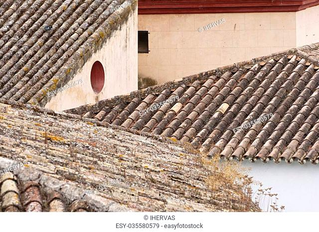 Tiled roof in Zahara de la Sierra town, Spain. This village is part of the pueblos blancos -white towns- in southern Spain Andalusia region