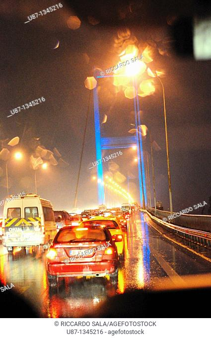 Italy, Turkey, Bosporus Bridge at night