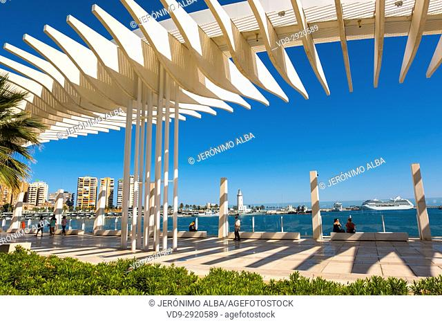 Muelle Uno, Dock One. Seaside promenade at port. Málaga, Costa del Sol. Andalusia, Southern Spain Europe