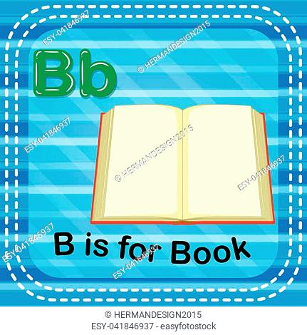 illustration of Flashcard letter B is for book