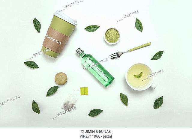 Various products with green tea