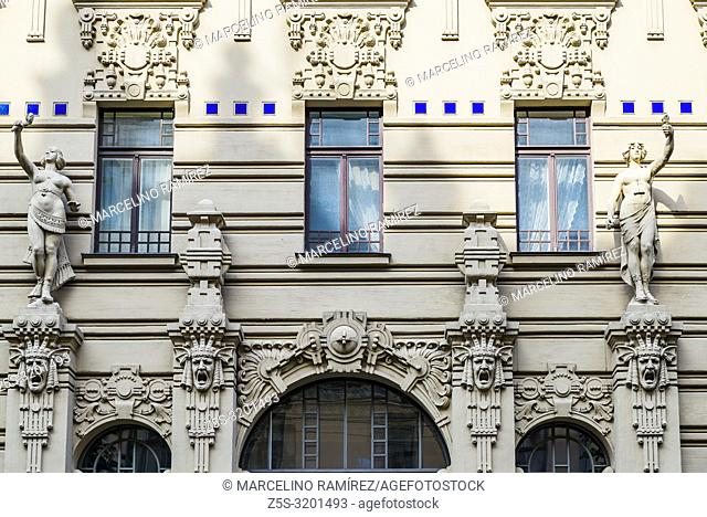 Art nouveau architecture in Riga - Alberta iela 2a - living house by Mikhail Eisenstein built in 1906. , Riga, Latvia, Baltic states, Europe