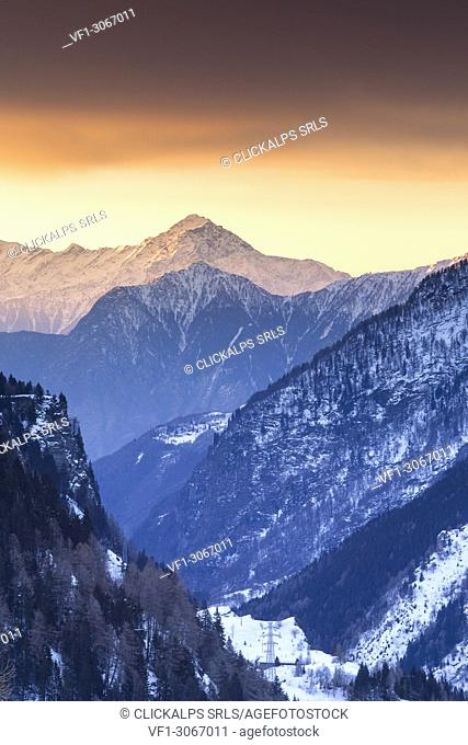 Sunrise on Legnone mount and Berlinghera mount, view from Spluga valley, Madesimo, Sondrio province, Lombardy, Italy, Europe