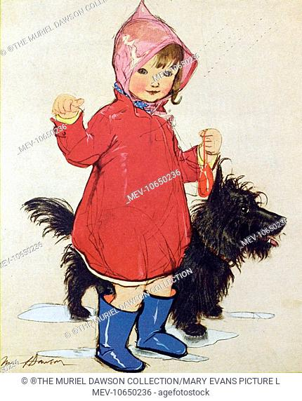 Rainy Day by Muriel Dawson -- a little girl in a bright red raincoat with her pet dog