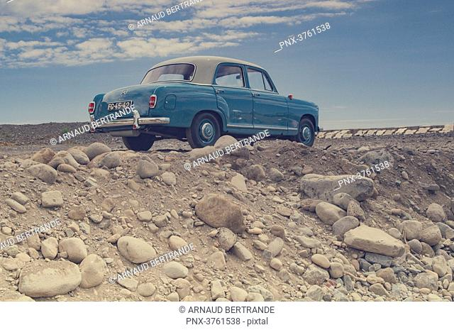 Portugal, Madeira, Ponta do sol, a parked old-style car