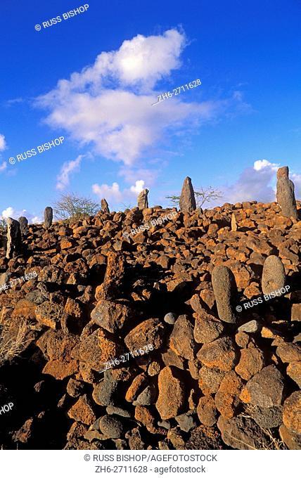 Navigational heiau (temple) at Mahukona, North Kohala, The Big Island, Hawaii USA