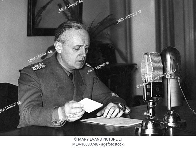 JOACHIM VON RIBBENTROP The German foreign minister broadcasting from Prague