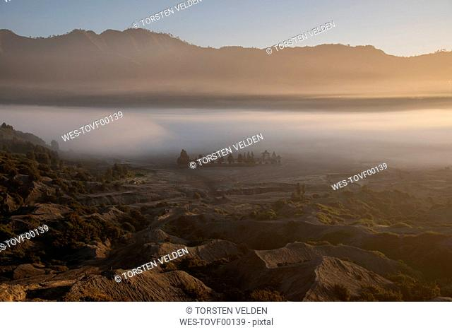 Indonesia, East Java, Thick morning fog shrouding valley in¶ÿBromo Tengger Semeru National Park