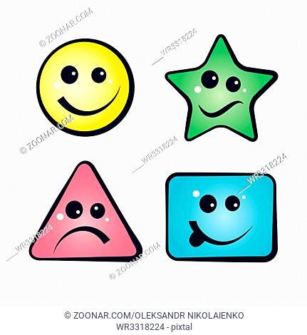 Color Smiley Faces, emoji icons, vector cartoon illustration