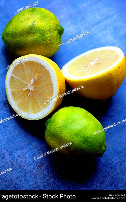 lemons with artistic background