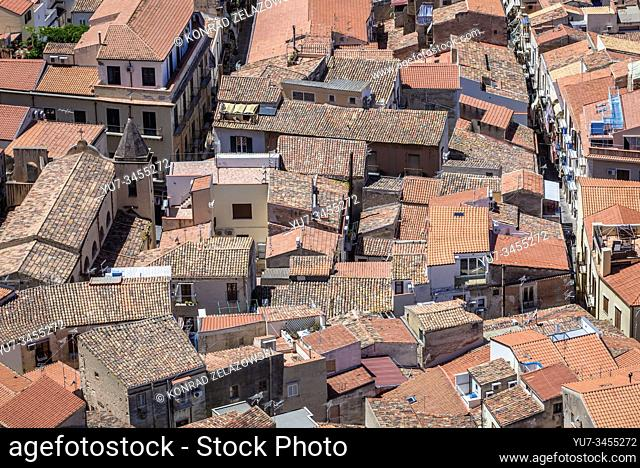 Old Town roofs seen from Rocca di Cefalu rock massif in Cefalu city and comune, located on the Tyrrhenian coast of Sicily, Italy