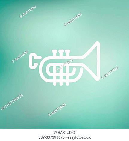 Trumpet icon thin line for web and mobile, modern minimalistic flat design. Vector white icon on gradient mesh background