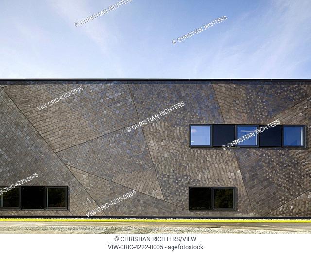 Partial front elevation of ceramic facade. German Aerospace Centre (DLR), Bremen, Germany. Architect: Kister Scheithauer Gross, 2012