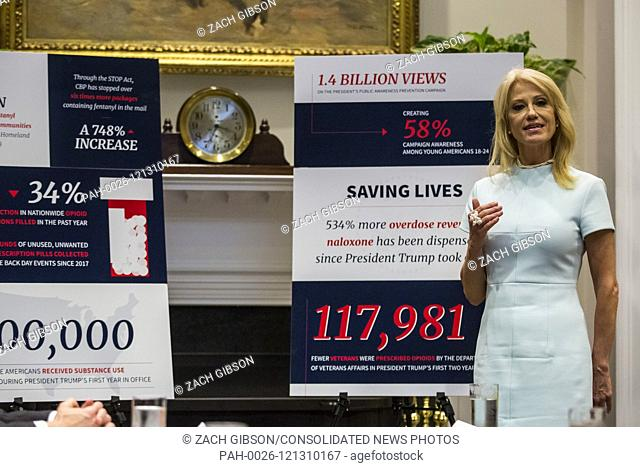 White House Counselor Kellyanne Conway speaks during an opioid round table at the White House in Washington, DC, USA, 12 June 2019