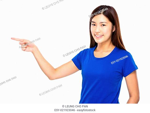 Woman with finger point aside