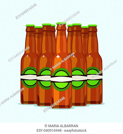 Group of attractive beer bottles on a blue background. Vector illustration