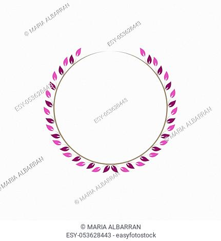 Vintage floral round frames. Pink decorative circular ivy wreath. Vector illustration