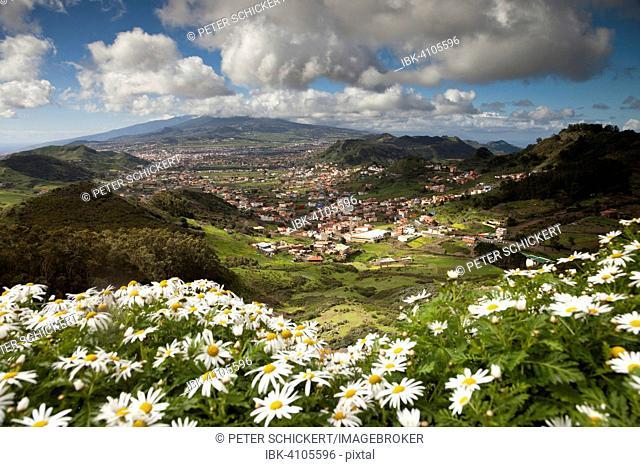 View from the Mirador de San Cristobal de Jardina to La Laguna and the Anaga Mountains, Tenerife, Canary Islands, Spain
