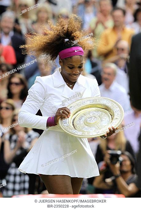 Winners ceremony, champion Serena Williams, USA, holding the winner's silver salver, women's final, Wimbledon Championships 2012 AELTC