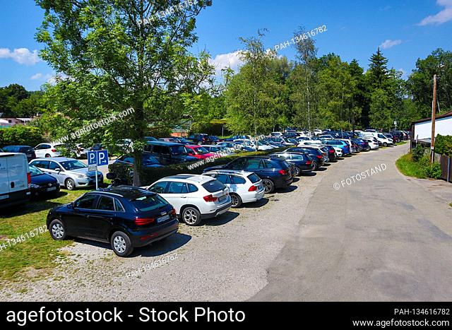 District of Starnberg, Germany August 9th, 2020: Impressions Starnberger See - 2020 Despite Corona, the parking lot at Starnberger See, Suedbad