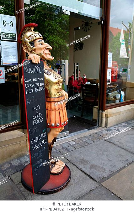 Restaurant sign in the old Roman city of Chester