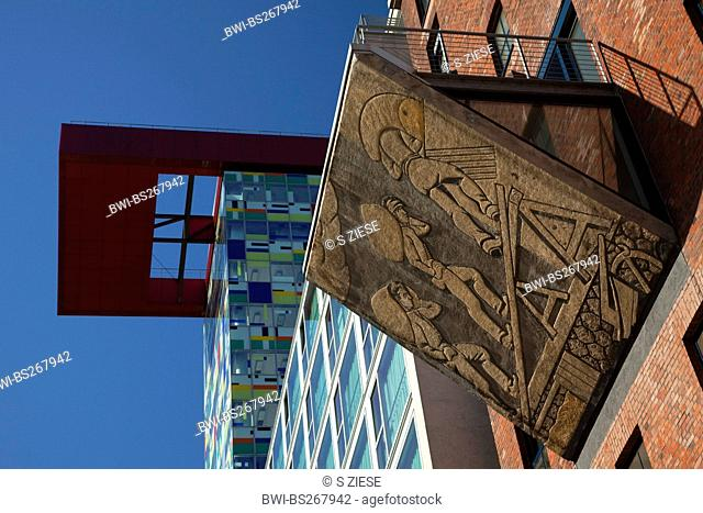 old and new architecture in the Media Harbour, Germany, North Rhine-Westphalia, Duesseldorf