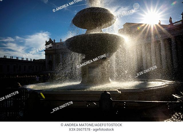 Water fountain. Saint Peter's square. Vatican. Rome, Italy
