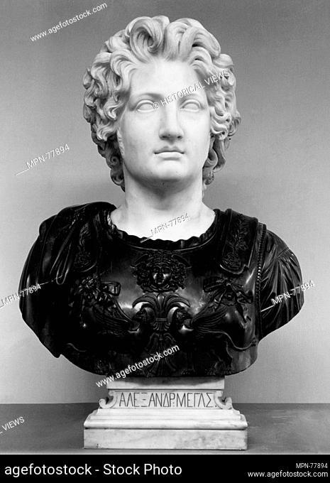 Alexander the Great. Artist: Viktor Brodzki (Polish, Podolia 1825-1904 Rome); Date: 19th century; Culture: Polish; Medium: Head and base: white marble; cuirass...