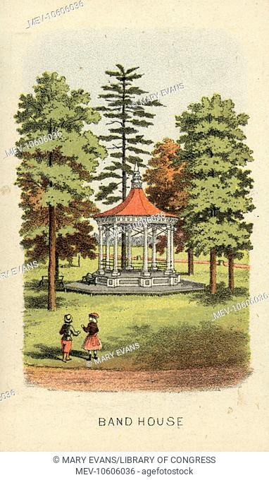 Band house. Print shows a view of a bandstand, with two children on the lawn in the foreground, from a souvenir booklet of views of Fairmount Park in...