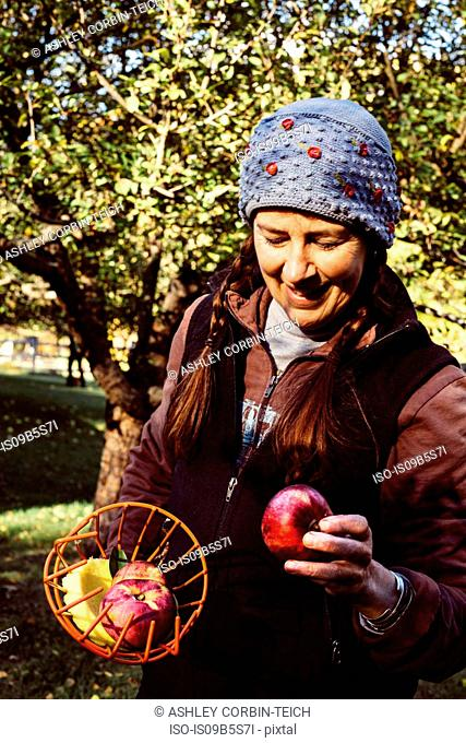 Woman holding fruit picker and fresh apple