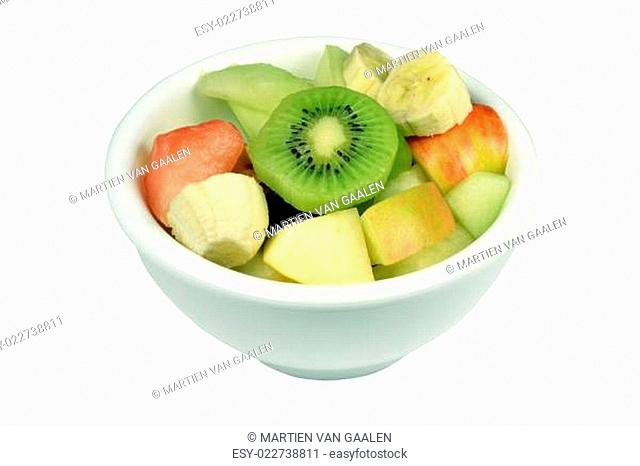 Fresh fruit salad in a bowl on a white background