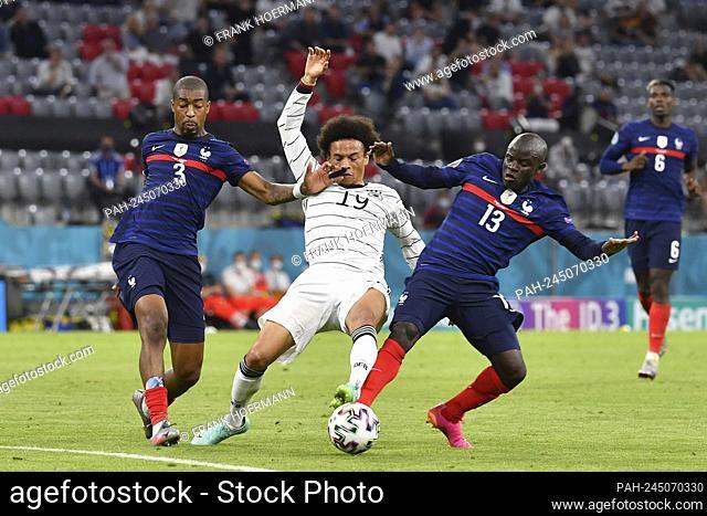 Leroy SANE (GER), action, duels versus Presnel KIMPEMBE (FRA, li) and Ngolo KANTE (FRA). Group stage, preliminary round group F, game M12