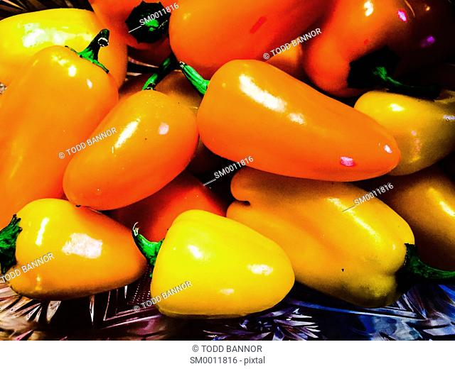 Orange and yellow peppers