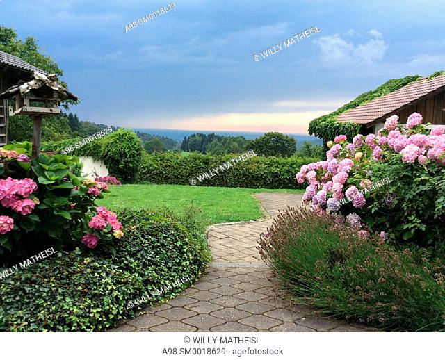 aproaching bad weather over path leading to farmhouse with hydrangea plants in the countryside of Lower Bavaria, Germany, Europe