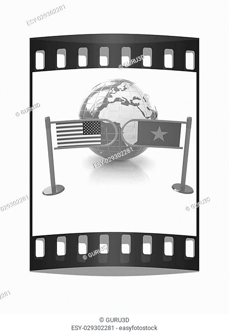 Three-dimensional image of the turnstile and flags of USA and Vietnam on a white background. The film strip