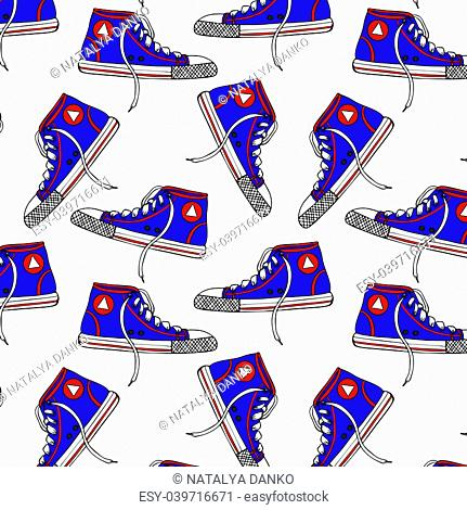 pattern with blue textile sneakers, isolated on white background