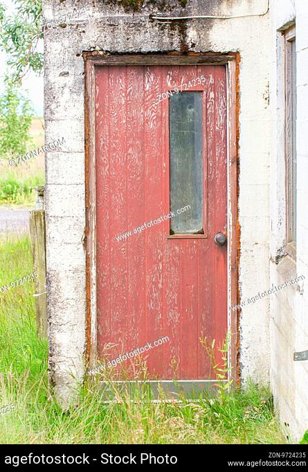 Weathered old door in an abandoned building - Iceland