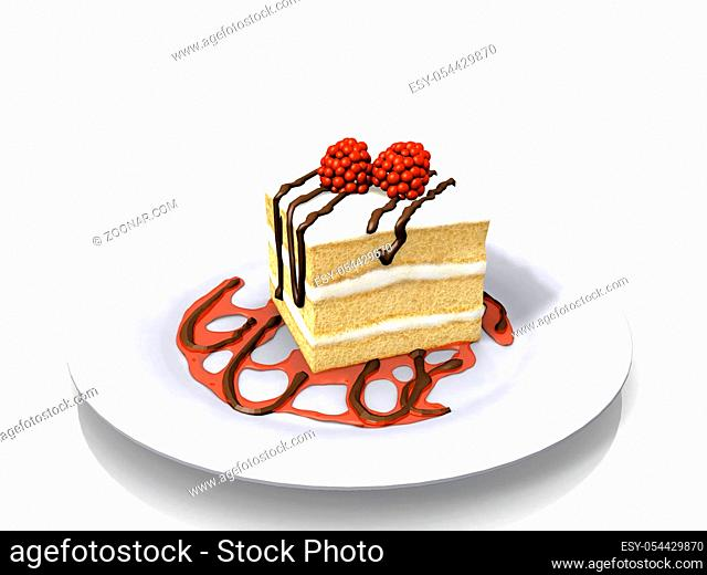 cake with cream and raspberries