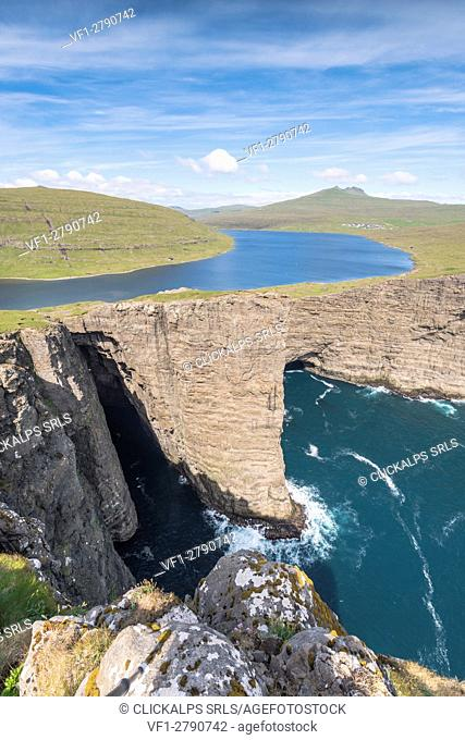 Vagar island, Faroe Islands, Denmark. Leitisvatn lake seen from the cliffs