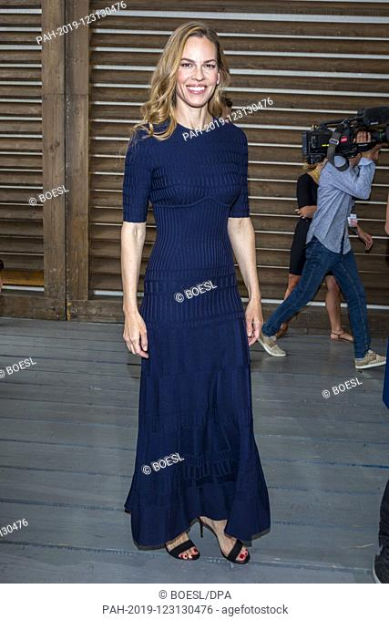 Hilary Swank poses at the event 'Conversation with Hilary Swank' during the Film Festival at Spazio Cinema in Locarno, Switzerland, on 10 August 2019
