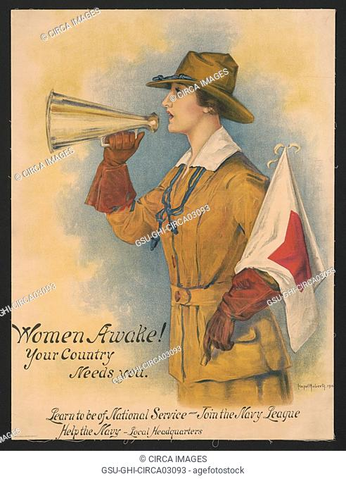 Woman in Uniform Holding Megaphone and Flag, Women Awake! Your Country Needs You, Learn to be of National Service - Join the Navy League