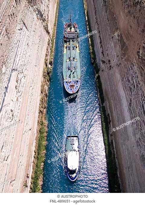 Aerial view of container ship in canal, Corinth, Greece