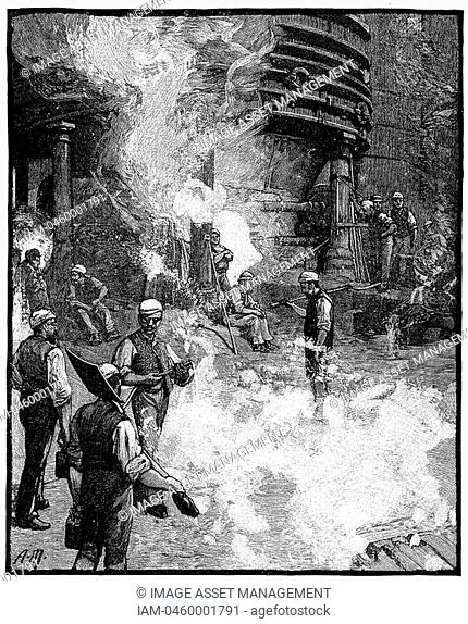 Tapping blast furnace and casting iron into 'pigs, Siemens Iron and Steel Works, Landore, South Wales  From 'The English Illustrated Magazine', London