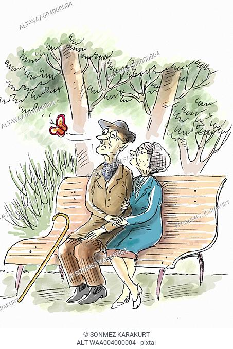 Elderly couple sitting on bench watching butterfly