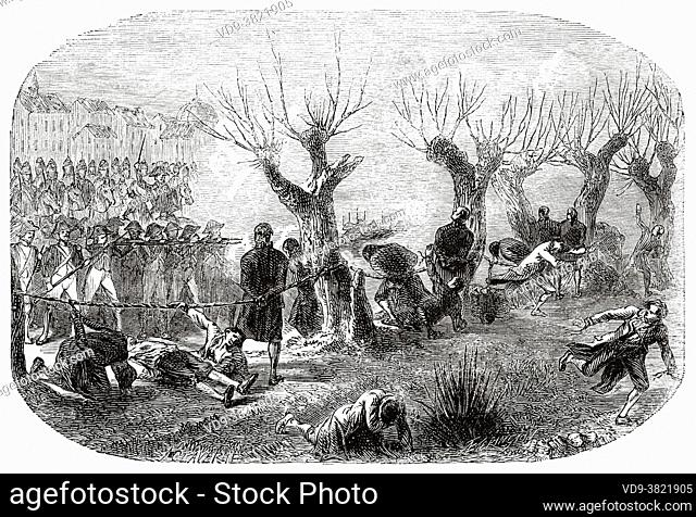 Siege of Lyon. Prisoners struck down at Les Brotteaux. France. Old 19th century engraved illustration from Histoire de la Revolution Francaise 1876 by Jules...