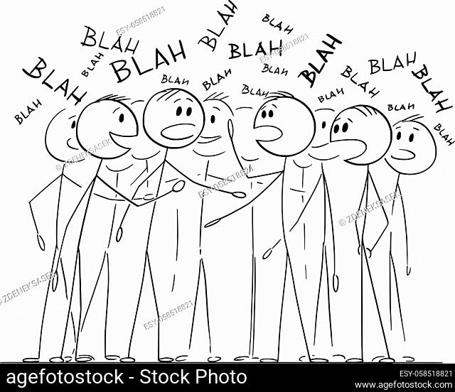 Crowd or group of people is chattering about nothing, talking or speaking blah, vector cartoon stick figure or character illustration