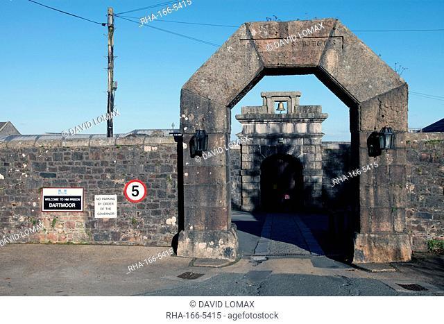 Main gate, Dartmoor Prison, Princetown, Dartmoor, Devon, England, United Kingdom, Europe