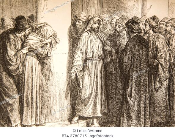 May he who is without sin throw the first stone at him, life of jesus by ernest renan, drawings by godefroy durand, publisher michel levy 1870
